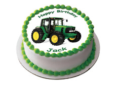 FARM TRACTOR 7.5 PREMIUM Edible RICE Cake Topper TEXT CAN BE PERSONALISED D1