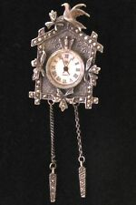 Vintage Sterling Silver & Marcasite Cuckoo Clock Brooch Pin Pendant Combo Watch