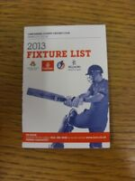 2013 Cricket: Lancashire County Cricket Club - Fixtures Booklet, Fold Out Style.