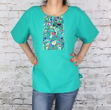 TEAL MEDIUM PEASANT OAXACA MANTA HAND EMBROIDERED MEXICAN BLOUSE TOP 100% COTTON