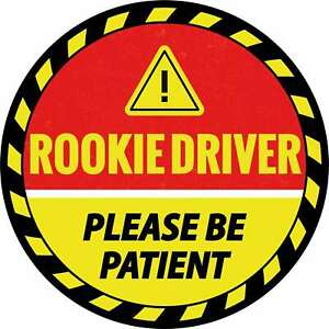 """Bright, 6"""" New Driver Sticker, Round """"Please be Patient"""" Bumper Decal by Ellopi"""