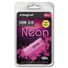 Integral 64GB Neon USB 3.0 Flash Drive in Pink - Up To 10X Faster Than USB 2.0.