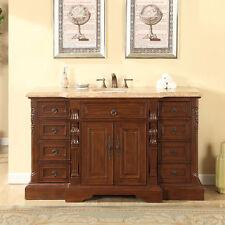 "60"" Bathroom Travertine Stone Countertop Vanity Single Sink Bath Cabinet 279T"