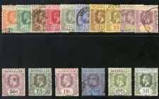 Seychelles 1917 KGV set complete very fine used. SG 82-97. Sc 74-89.