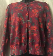 LL Bean Womens Sweater Cardigan Medium M Petite MP Floral Button Down Thin Knit