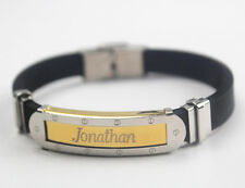 Silicone & Gold Tone Engraved - Gifts Jonathan - Bracelet With Name - Mens