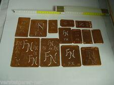 13 x FN Merkenthaler Monogramme, Kupfer Schablonen, Stencils, Patrons broder