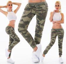 Damen Hüft Jeans Hose Röhre Boyfriend Baggy Camouflage Army Militär Gummizug