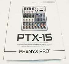 Professional Audio Mixer,  Phenyx Pro PTX-15, MIX-CONSOLE 4 Ch, USB imput Stereo