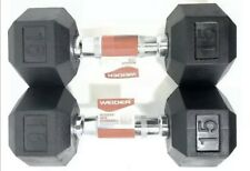 Weider 15 lb Dumbbells Pair Set Rubber Hex (30) Pounds Total ⚡ Fast Shipping ⚡