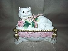 "FITZ AND FLOYD ""KITTENS AND ROSES"" PERSIAN CAT RECTANGULAR BOX/ Trinket"