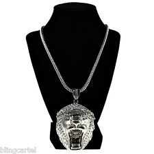 "Lion Head Iced-Out King Size Chunky Hip Hop Pendant Silver Tone 36"" Franco Chain"