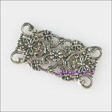 3Pcs Tibetan Silver 2-2 Flower Charms Pendants Connectors 16x31mm