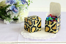 50x 2'' Cube, Wedding Bridal Baby Shower Party Favors, Gift Boxes, Leopard 2x2x2
