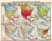 MAP ~ NORTH AMERICA ~ CLIMATE VEGETATION & POPULATION ~ SANDHURST ATLAS 1924