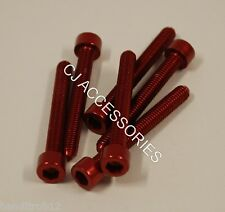 Pack of 6 Red Anodised Aluminium Bolts M6 x 35mm Alloy Screw Bolt