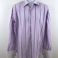 Robert Graham Mens Embroidered Pink Striped Shirt Size 16 Button Up French Cuffs