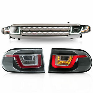 Customized LED Headlights + SILVER Grille +LED Taillights for 07-14 FJ Cruiser