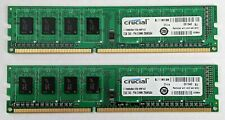 New listing 2 Modules of Crucial Pc3-10600 2 Gb Dimm 1333 Mhz Ddr3 Memory (Ct25664Ba1339)