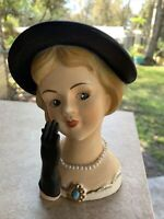 Vintage 1963 RUBENS Blonde HEAD VASE 487M Black Hat & Gloves Pearl Necklace