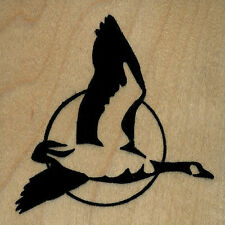 """mounted rubber stamps Goose Flying version B wood mount 3"""" X 3"""""""
