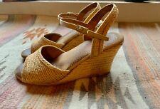 80s women's vintage Sbicca natural rattan wedge sandals 5.5-6 boho hippie chic