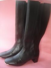 TORY BURCH BOOTS IRELAND TALL LEATHER METAL TOE BLACK 60'S DESIGN 6.5 595.00
