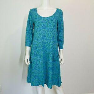 Fresh Produce Small Dress Shells Circles Turquoise 3/4 Sleeve Pockets A-Line