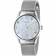 Gucci YA1264040 G-Timeless MOP Dial Stainless Steel Mesh Women's Watch