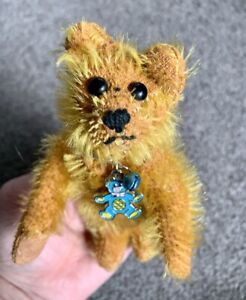 """Unique Vintage Miniature Gold Mohair Jointed Bear 6"""" No Markings Very CUTE NR!"""