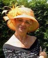 Damen Hut Traum in Orange Anlasshut Hochzeit Ascot Damenhüte Anlasshüte Elegant