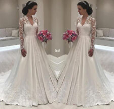Vintage V Neck Wedding Dresses White Ivory Lace Long Sleeves A Line Bridal Gowns