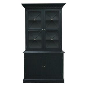 Hamptons Criss Cross Glass Door Black Hutch Buffet Cabinet Chest Sideboard
