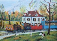 Dan GANDRE : Le train de Saint Germain - LITHOGRAPHIE signée au crayon, 225ex