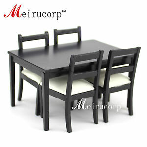 Dollhouses 1/12 scale miniature furniture Black dining table And 4 pcs chairs
