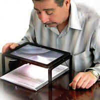 Large A4 Full Page Hands Free Magnifying Glass Sheet 4 LED Magnifier Neck Cord