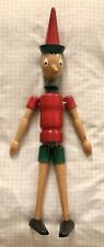"""PINOCCHIO WOOD DOLL TOY PUPPET 18"""" ITALY STRING JOINTED HAND PAINTED OOAK"""