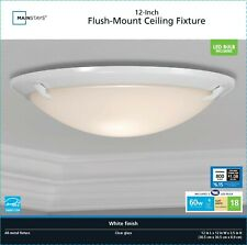 """Flush Mount Ceiling Fixture 12"""" - White Finish - Led Bulb Included by Mainstays"""