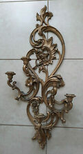 "Home Interiors Syroco #4049 Ornate Gold 5 Arm Wall Sconce Candle Holder 35""H"