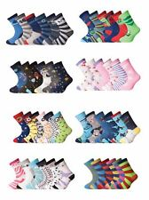6 & 12 Pairs Girls Boys Cotton Sock Novelty Designer School Socks