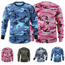 Mens Autumn Camo T-Shirt Military Long Sleeve Army Camouflage Tactical Shirts AU