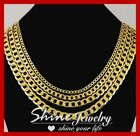 9K YELLOW GOLD GF FLAT RING CURB CHAIN WOMEN MENS SOLID CUBAN 16-30INCH NECKLACE