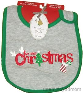 Baby 1st Christmas Bib Holiday Boys Girls My First Santa Reindeer Feeding Gift