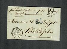 "Transatlantic Ship Cover Liverpool To Philadelphia 1852 ""Europa"""