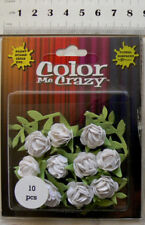 Petite Mini WHITE 10 PAPER Roses 15mm Across 12mm High + Leaves17x35mm Petaloo F