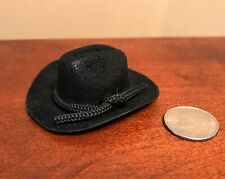 Black COWBOY HAT for SOME 1:9 & Other Scale Dolls SEE HEAD-OPENING MEASUREMENTS!