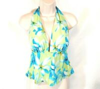 Sessa Halter Tankini Swim Top Women Size 12 Swimwear Green Blue Floral Padded