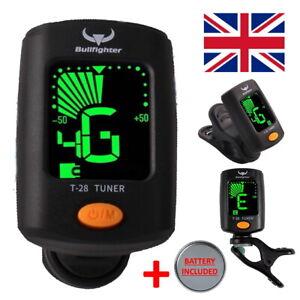 Guitar Tuner Clip On Chromatic Precision Bass Violin Digital Battery Ukulele UK!