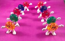 """Vintage M&M 2"""" Pencil Toppers - Stand Lot Of 10 Blue Yellow Orange Green Red"""