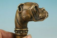 Collection Chinese Old Bronze Handcarved Dog Walking Stick Cane Head Statue